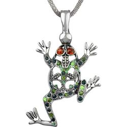 Wearable Art By Roman Rhinestone Frog Pendant Necklace
