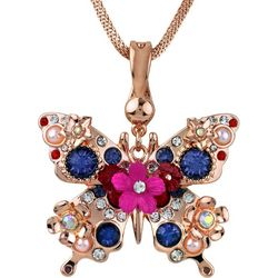 Wearable Art By Roman Floral Butterfly Pendant Necklace