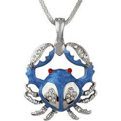 Wearable Art By Roman Blue Crab Pendant Necklace