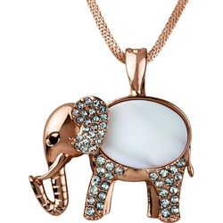Wearable Art By Roman Shell Elephant Pendant Necklace