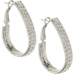 Roman Crystal Teardrop Hoop Earrings