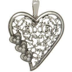 Wearable Art By Roman Silver Tone Filigree Heart Pendant