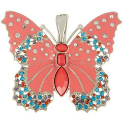Wearable Art By Roman Coral & Rhinestone Butterfly Pendant