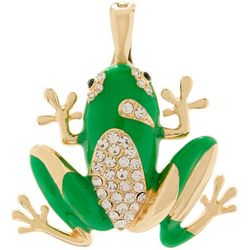 Wearable Art By Roman Rhinestone & Enamel Green Frog Pendant