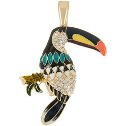 Wearable Art By Roman Enamel & Rhinestone Toucan Pendant