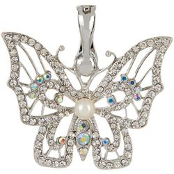 Wearable Art By Roman Faux Pearl Center Butterfly