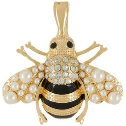 Wearable Art By Roman Rhinestone & Faux Pearl Bee Pendant