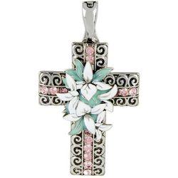 Wearable Art By Roman Silver Tone Flowers & Cross Pendant