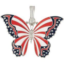 Wearable Art By Roman Enamel American Butterfly Pendant