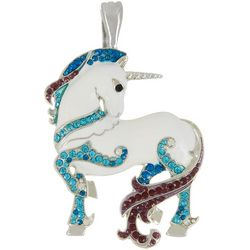Wearable Art By Roman White Enamel Unicorn Pendant