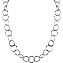 Wearable Art By Roman Textured Silver Tone Chain Necklace