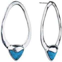 Bella UNO Open Oval & Turquoise Blue Post Earrings