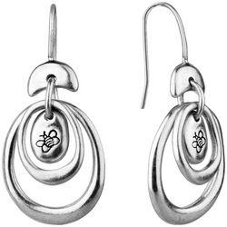 Bella UNO Double Open Oval Hoop & Bean Drop Earrings