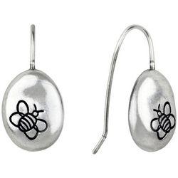 Bella UNO Bee Logo Silver Tone Bean Drop Earrings