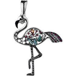 Wearable Art By Roman Rhinestone Flamingo Pendant