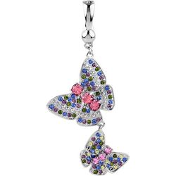 Wearable Art By Roman Rhinestone Double Butterfly Pendant