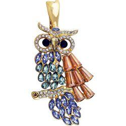 Wearable Art By Roman Rhinestone Gold Tone Owl Pendant
