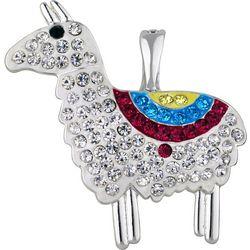 Wearable Art By Roman Rhinestone Llama Pendant