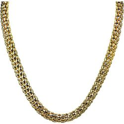 Wearable Art By Roman Gold Tone Flat Popcorn Chain Necklace