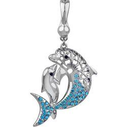 Wearable Art By Roman Aqua Blue Rhinestones Dolphin Pendant