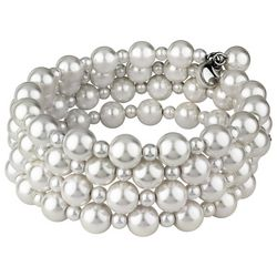 Roman Cream White Glass Pearl Coil Bracelet