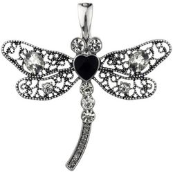 Wearable Art By Roman Rhinestone Dragonfly Cutout Pendant