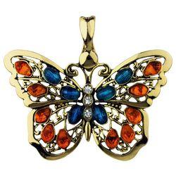 Wearable Art By Roman Colorful Rhinestones Butterfly Pendant
