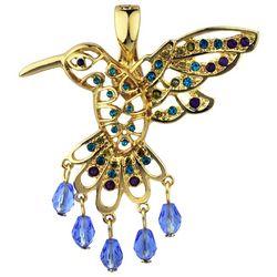 Wearable Art By Roman Rhinestone Hummingbird Pendant