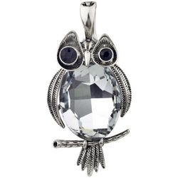 Wearable Art By Roman Silver Tone & Glass Owl Pendant