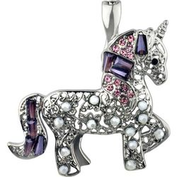 Wearable Art By Roman Filigree Beaded Unicorn Pendant