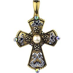 Wearable Art By Roman Two Tone Faux Pearl Cross Pendant