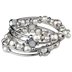 Roman Faux Pearl & Glitter Disc Coil Bracelet