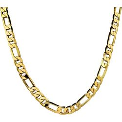 Wearable Art By Roman Gold Tone Flat Figaro Link Necklace