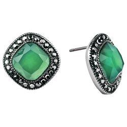 Roman Marcasite Rhinestones & Green Button Earrings