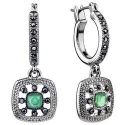 Roman Marcasite Rhinestones & Green Stone Hoop Drop Earrings
