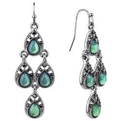 Roman Marcasite Rhinestone & Jade Green Chandelier Earrings