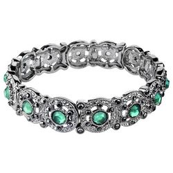 Roman Marcasite Rhinestones & Jade Green Stretch Bracelet