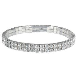 Roman Two Row Pave Crystal Stretch Bracelet