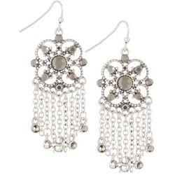 Roman Rhinestone Drop Chain Link Fringe Earrings