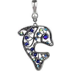 Wearable Art By Roman Blue Rhinestone Dolphin Pendant