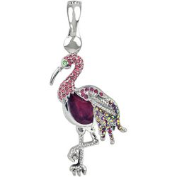 Wearable Art By Roman Rhinestone Pink Flamingo Pendant