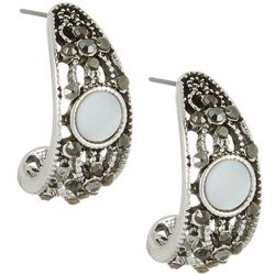 Roman Mother Of Pearl & Rhinestone Half Hoop Earrings