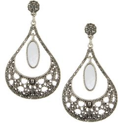 Roman Mother Of Pearl & Rhinestone Teardrop Earrings