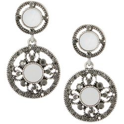 Roman Mother Of Pearl & Rhinestone Double Circle Earrings