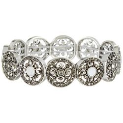 Roman Mother Of Pearl & Rhinestone Disc Stretch Bracelet