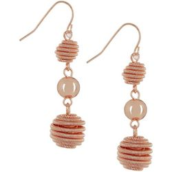 Roman Triple Rose Gold Tone Bee Hive Bead Drop Earrings