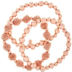 Roman Rose Gold Tone Beaded Stretch Bracelet Set