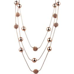 Roman Rose Gold Tone 3 Row Ball & Coil Beehive Necklace
