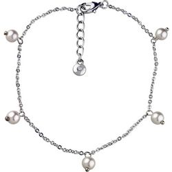 Roman Cream White Faux Pearl & Chain Anklet