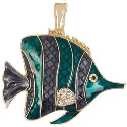 Wearable Art Blue Green Angel Fish Pendant
